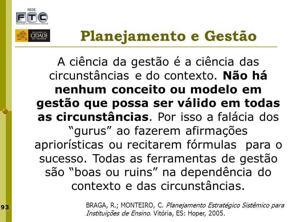 93 Planejamento e Gestão BRAGA, R.; MONTEIRO, C. Planejamento Estratégico Sistêmico para Instituições de Ensino. Vitória, ES: Hoper, 2005. A ciência d