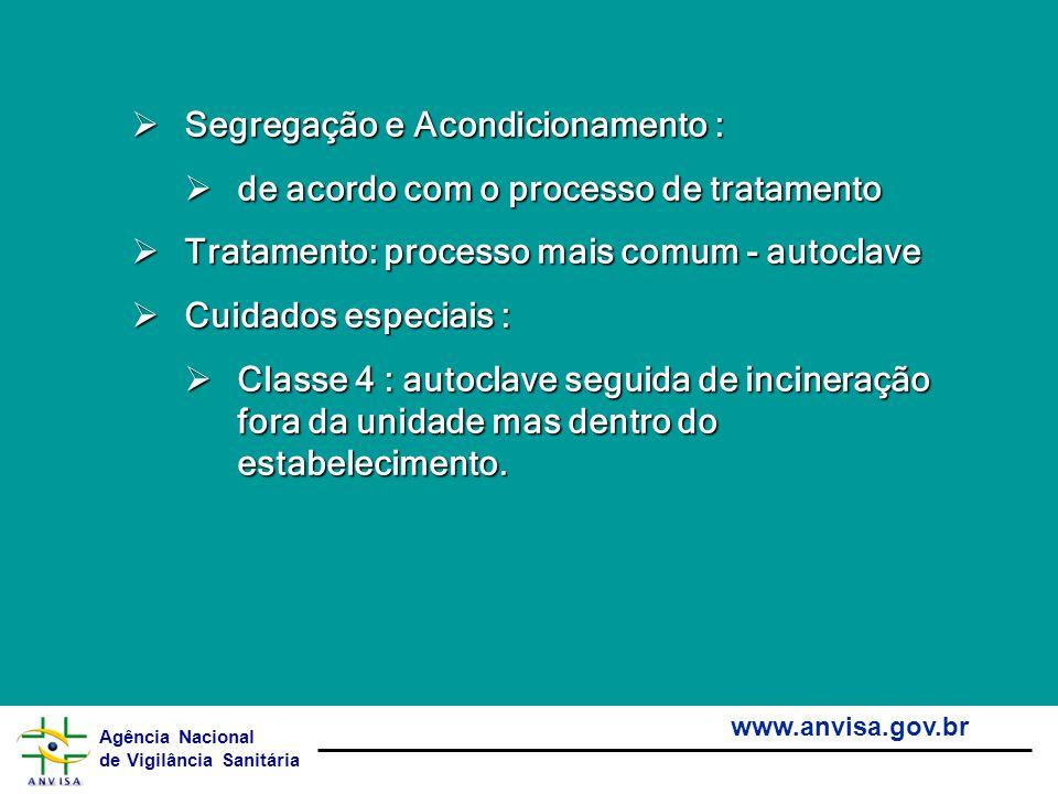 Agência Nacional de Vigilância Sanitária www.anvisa.gov.br Segregação e Acondicionamento : Segregação e Acondicionamento : de acordo com o processo de