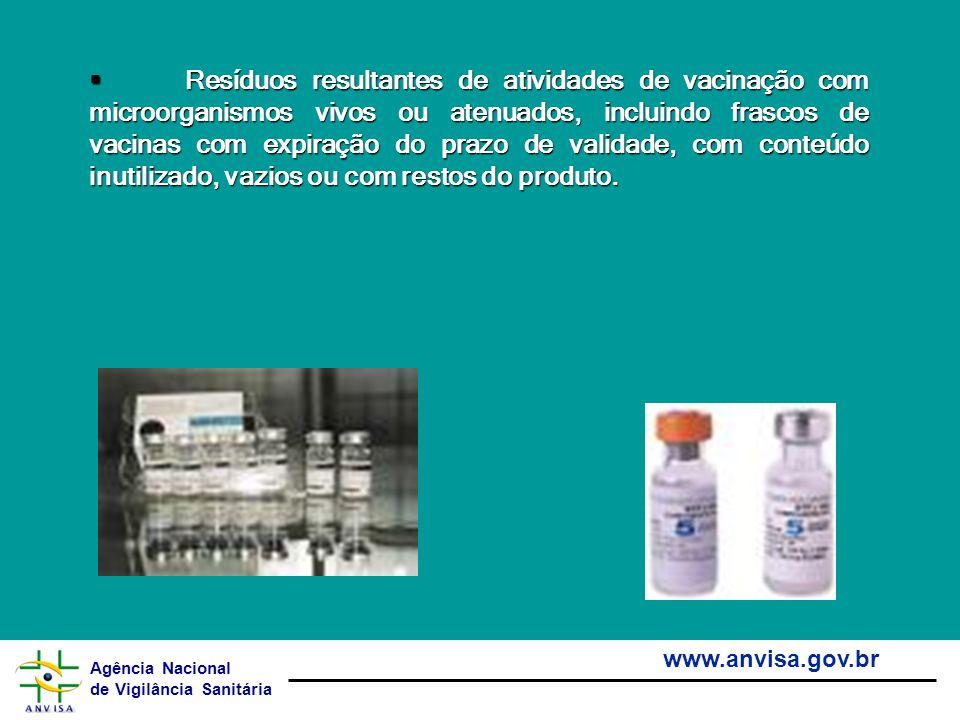 Agência Nacional de Vigilância Sanitária www.anvisa.gov.br Resíduos resultantes de atividades de vacinação com microorganismos vivos ou atenuados, inc