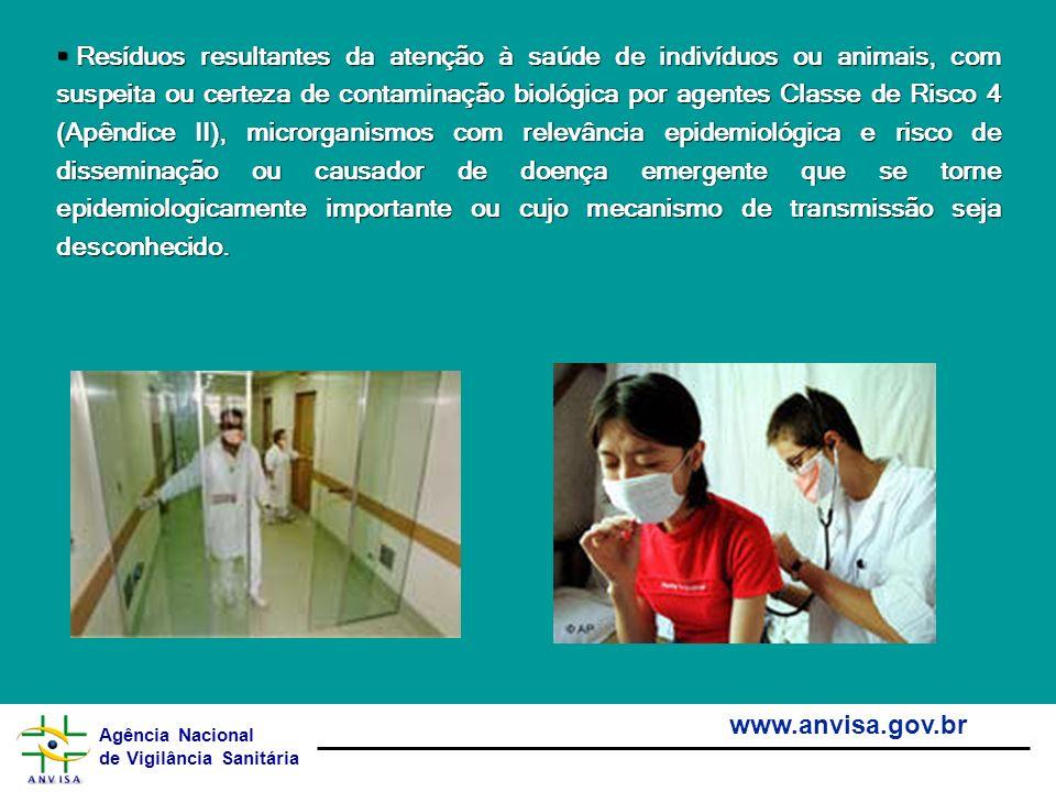 Agência Nacional de Vigilância Sanitária www.anvisa.gov.br Resíduos resultantes da atenção à saúde de indivíduos ou animais, com suspeita ou certeza d