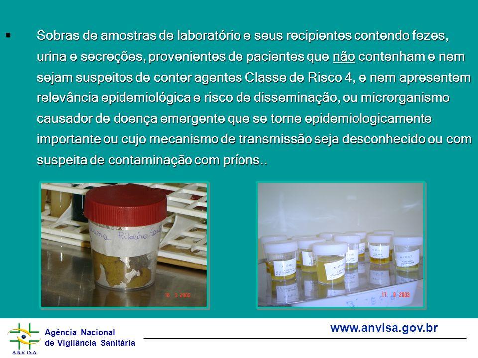 Agência Nacional de Vigilância Sanitária www.anvisa.gov.br Sobras de amostras de laboratório e seus recipientes contendo fezes, urina e secreções, pro