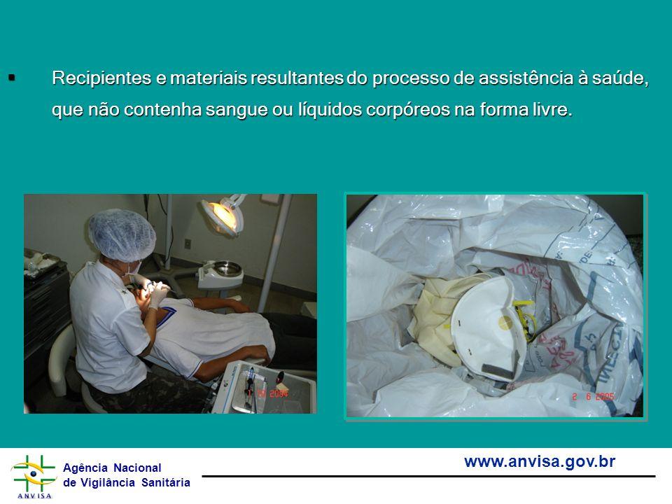 Agência Nacional de Vigilância Sanitária www.anvisa.gov.br Recipientes e materiais resultantes do processo de assistência à saúde, que não contenha sa