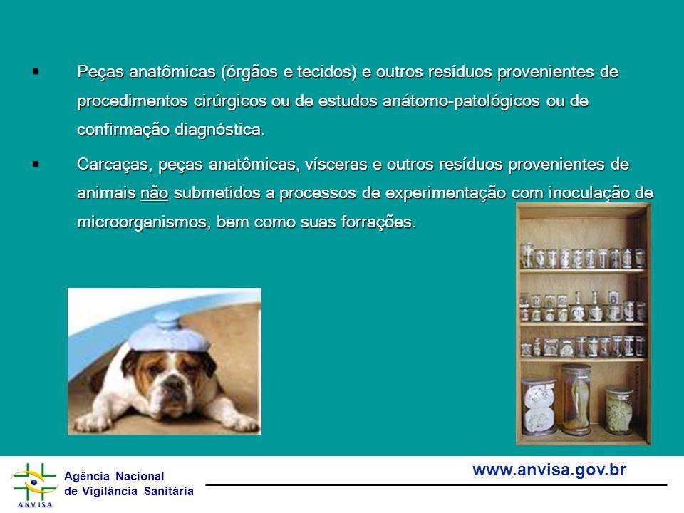 Agência Nacional de Vigilância Sanitária www.anvisa.gov.br Peças anatômicas (órgãos e tecidos) e outros resíduos provenientes de procedimentos cirúrgi