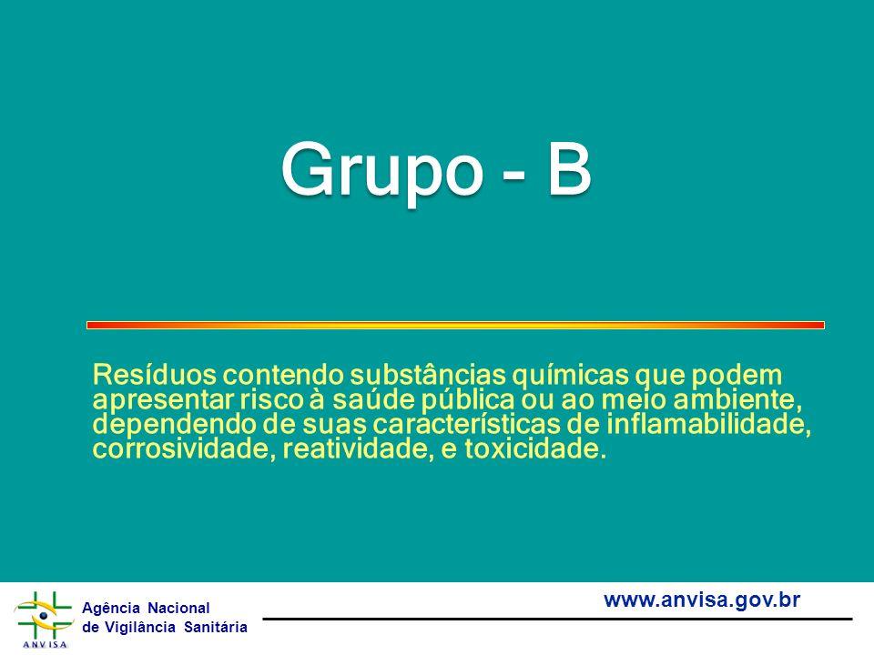 Agência Nacional de Vigilância Sanitária www.anvisa.gov.br Grupo - B Resíduos contendo substâncias químicas que podem apresentar risco à saúde pública