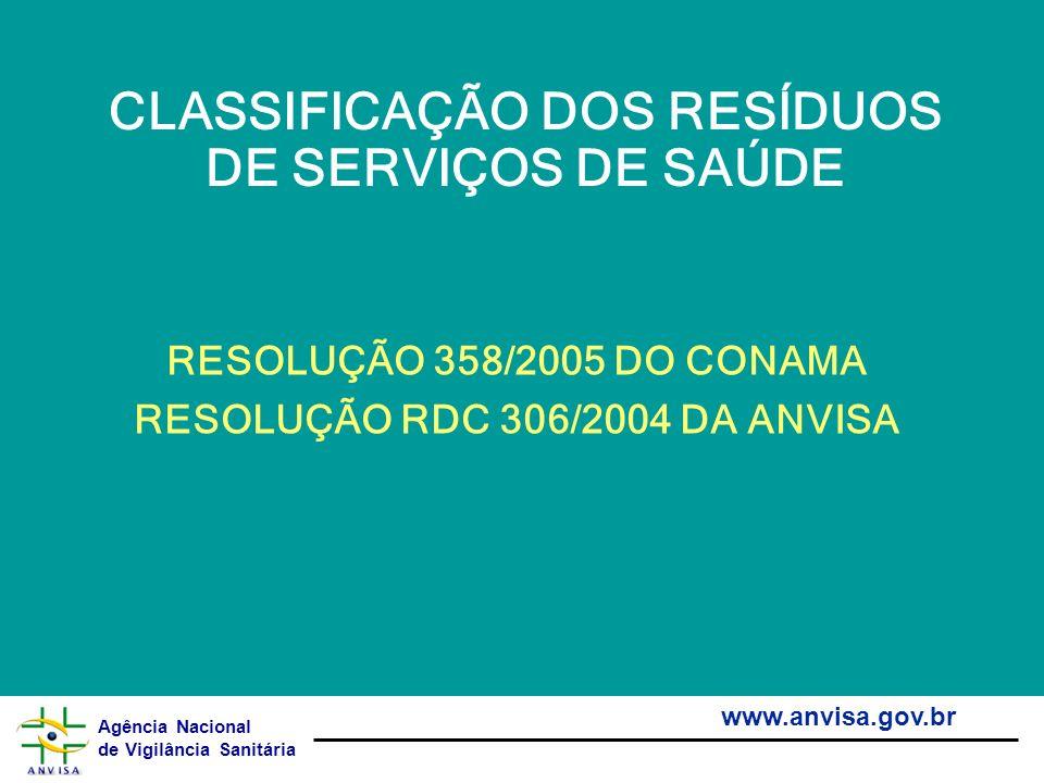 Agência Nacional de Vigilância Sanitária www.anvisa.gov.br CLASSIFICAÇÃO DOS RESÍDUOS DE SERVIÇOS DE SAÚDE RESOLUÇÃO 358/2005 DO CONAMA RESOLUÇÃO RDC