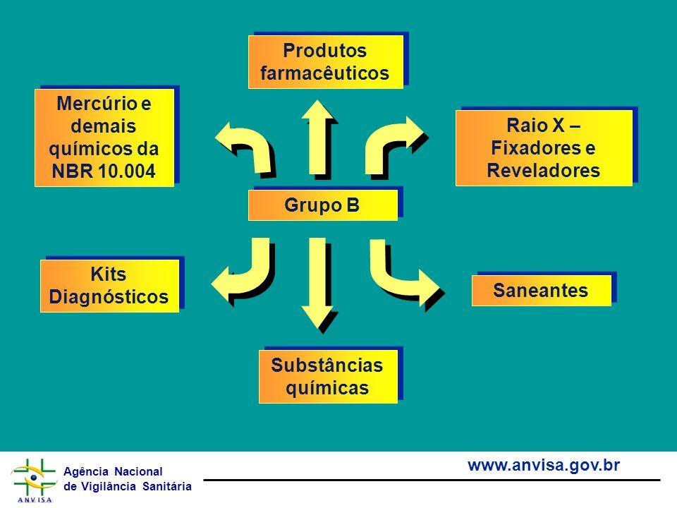 Agência Nacional de Vigilância Sanitária www.anvisa.gov.br Grupo B Produtos farmacêuticos Kits Diagnósticos Saneantes Raio X – Fixadores e Reveladores