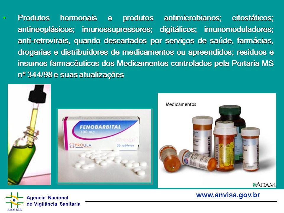 Agência Nacional de Vigilância Sanitária www.anvisa.gov.br Produtos hormonais e produtos antimicrobianos; citostáticos; antineoplásicos; imunossupress