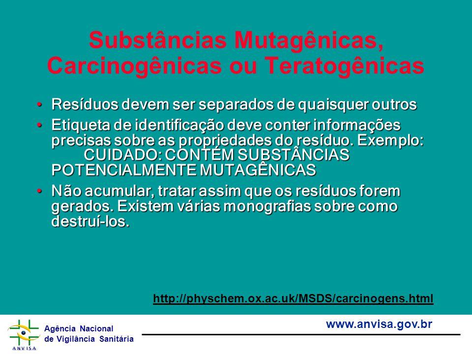 Agência Nacional de Vigilância Sanitária www.anvisa.gov.br Substâncias Mutagênicas, Carcinogênicas ou Teratogênicas Resíduos devem ser separados de qu