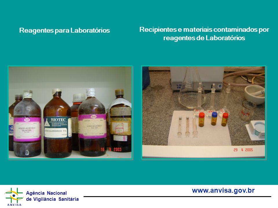 Agência Nacional de Vigilância Sanitária www.anvisa.gov.br Reagentes para Laboratórios Recipientes e materiais contaminados por reagentes de Laboratór