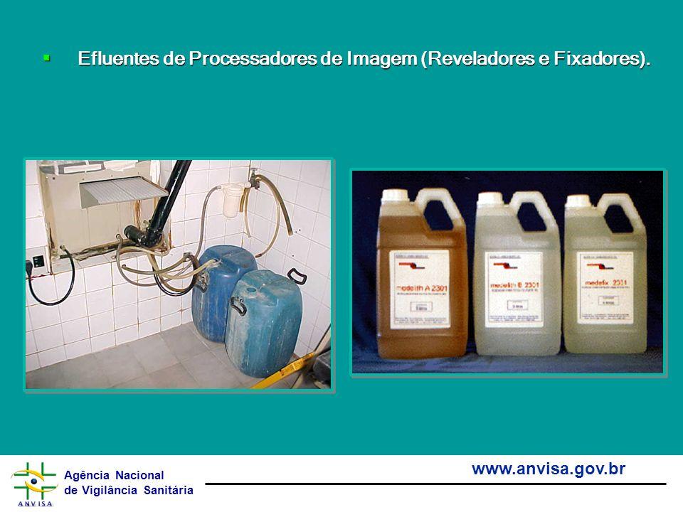Agência Nacional de Vigilância Sanitária www.anvisa.gov.br Efluentes de Processadores de Imagem (Reveladores e Fixadores). Efluentes de Processadores