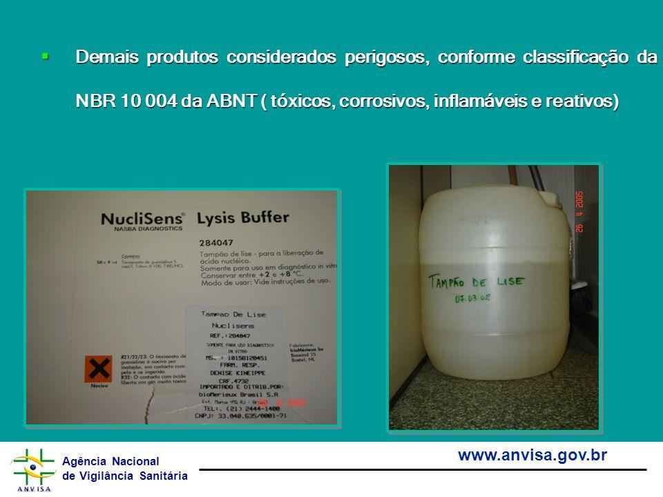 Agência Nacional de Vigilância Sanitária www.anvisa.gov.br Demais produtos considerados perigosos, conforme classificação da NBR 10 004 da ABNT ( tóxi