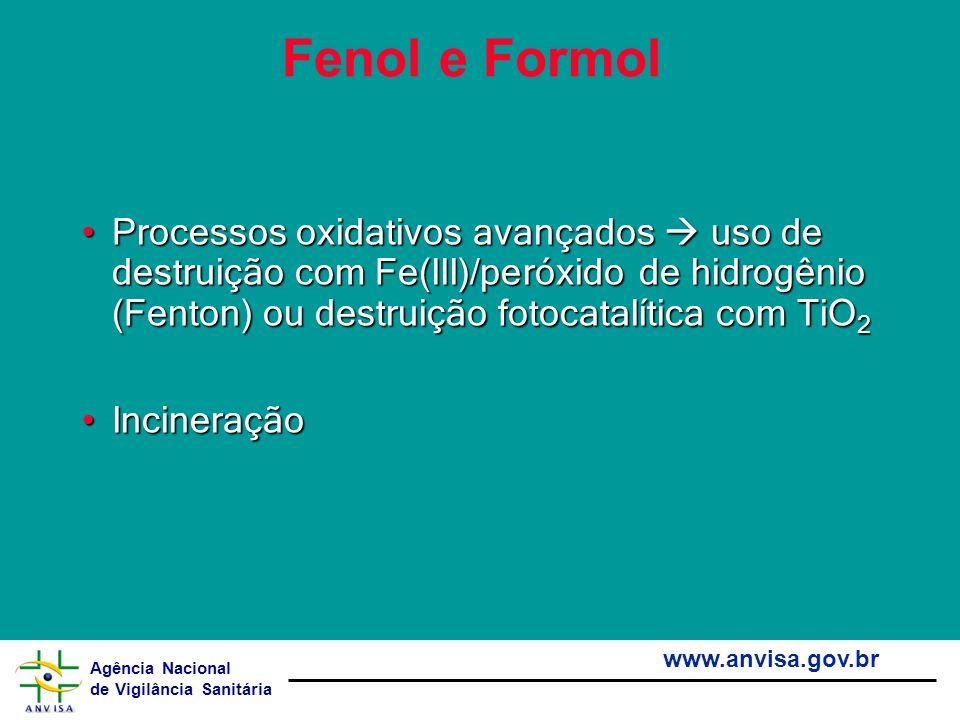 Agência Nacional de Vigilância Sanitária www.anvisa.gov.br Fenol e Formol Processos oxidativos avançados uso de destruição com Fe(III)/peróxido de hid