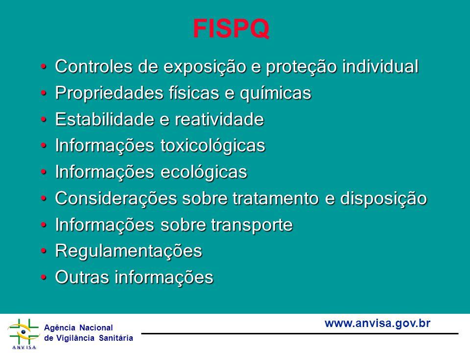 Agência Nacional de Vigilância Sanitária www.anvisa.gov.br FISPQ Controles de exposição e proteção individualControles de exposição e proteção individ