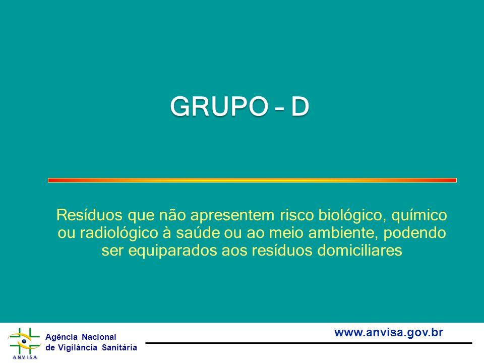 Agência Nacional de Vigilância Sanitária www.anvisa.gov.br GRUPO – D Resíduos que não apresentem risco biológico, químico ou radiológico à saúde ou ao