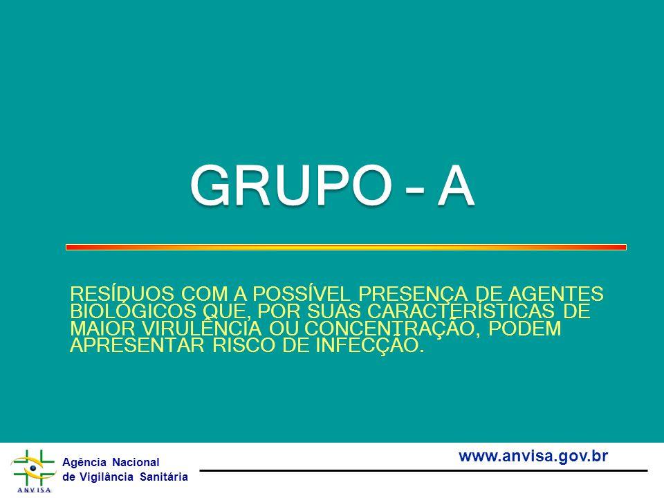 Agência Nacional de Vigilância Sanitária www.anvisa.gov.br GRUPO – A RESÍDUOS COM A POSSÍVEL PRESENÇA DE AGENTES BIOLÓGICOS QUE, POR SUAS CARACTERÍSTI