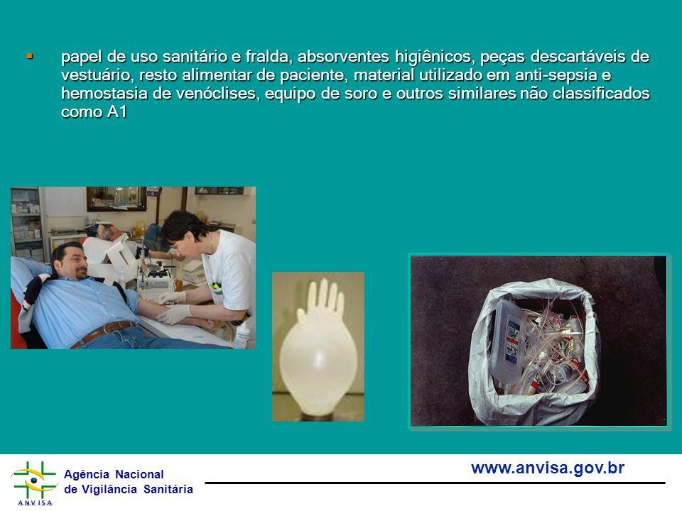 Agência Nacional de Vigilância Sanitária www.anvisa.gov.br papel de uso sanitário e fralda, absorventes higiênicos, peças descartáveis de vestuário, r