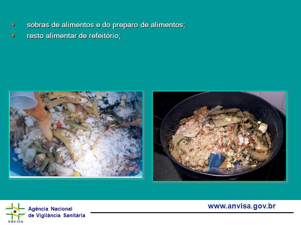 Agência Nacional de Vigilância Sanitária www.anvisa.gov.br sobras de alimentos e do preparo de alimentos; sobras de alimentos e do preparo de alimento