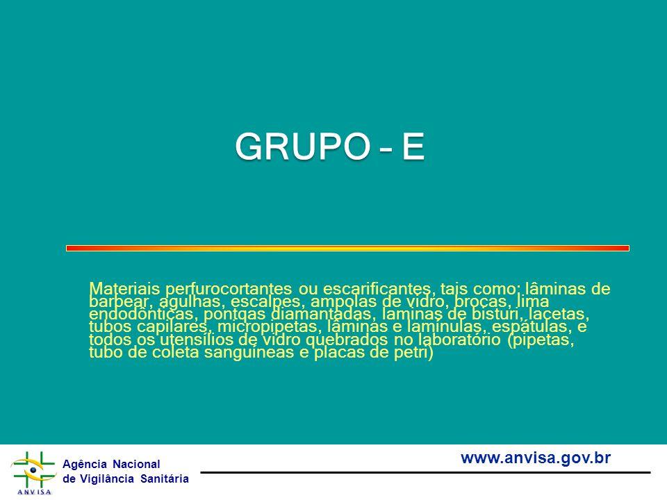 Agência Nacional de Vigilância Sanitária www.anvisa.gov.br GRUPO – E Materiais perfurocortantes ou escarificantes, tais como: lâminas de barbear, agul