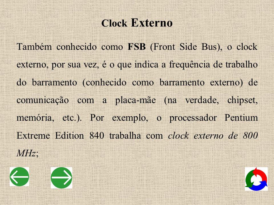 Também conhecido como FSB (Front Side Bus), o clock externo, por sua vez, é o que indica a frequência de trabalho do barramento (conhecido como barram