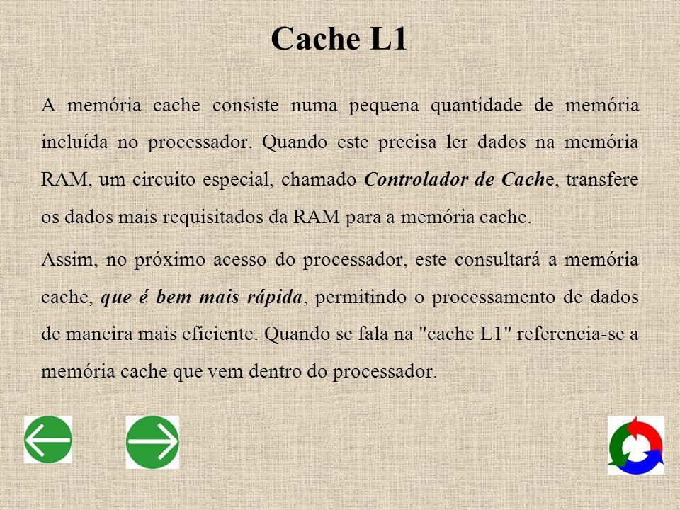 Cache L1 A memória cache consiste numa pequena quantidade de memória incluída no processador. Quando este precisa ler dados na memória RAM, um circuit
