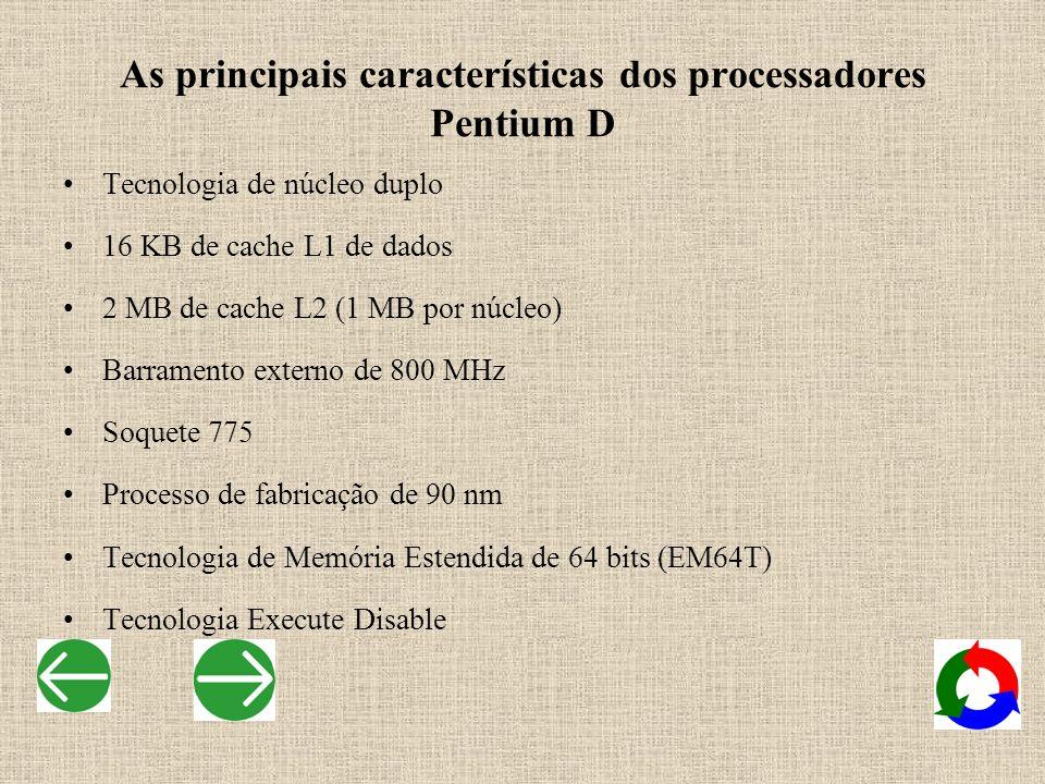 As principais características dos processadores Pentium D Tecnologia de núcleo duplo 16 KB de cache L1 de dados 2 MB de cache L2 (1 MB por núcleo) Bar