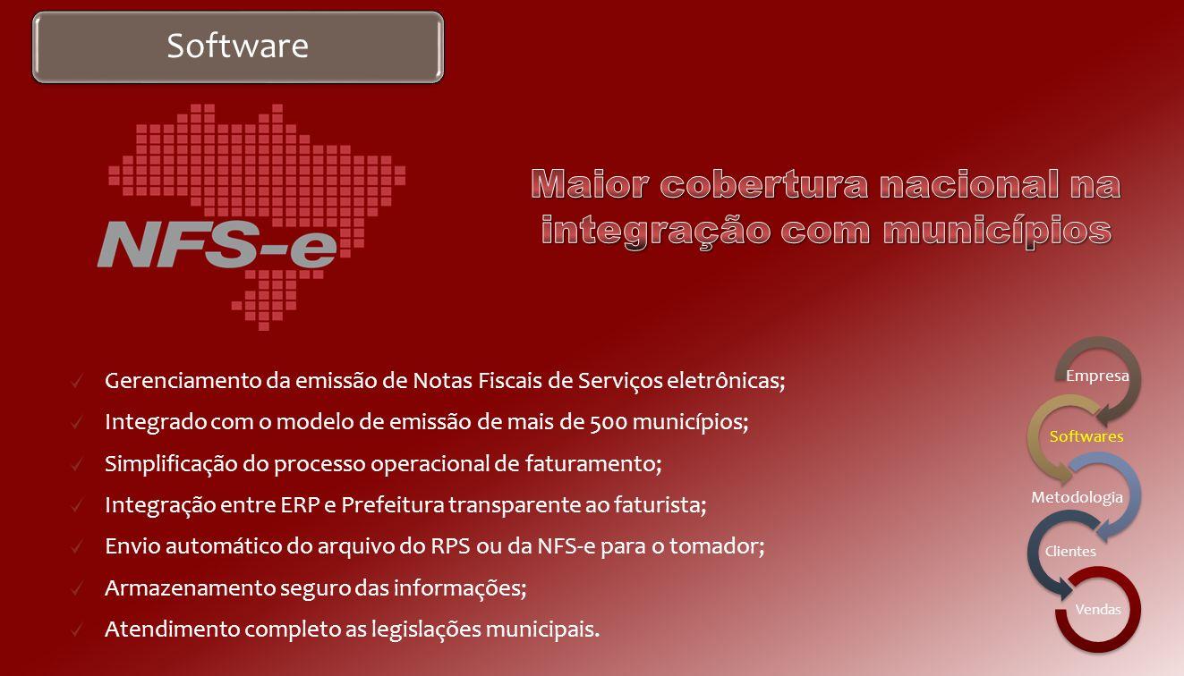 Software Gerenciamento da emissão de Notas Fiscais eletrônicas; Integração entre ERP e SEFAZ transparente ao faturista; Envio automático dos arquivos