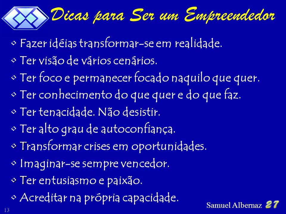 Samuel Albernaz 13 Fazer idéias transformar-se em realidade. Ter visão de vários cenários. Ter foco e permanecer focado naquilo que quer. Ter conhecim