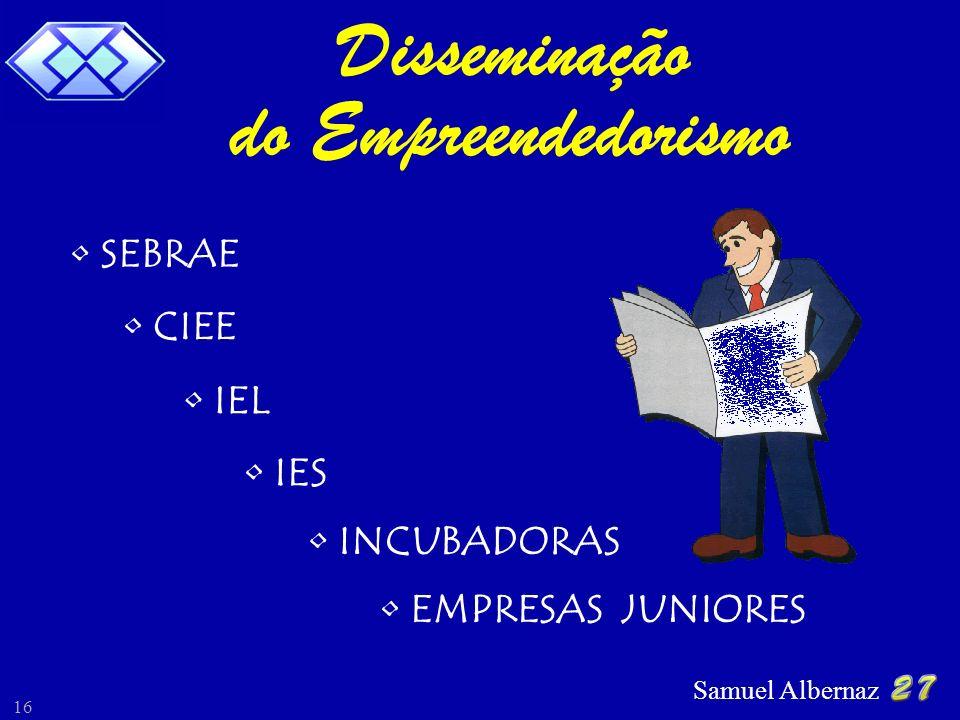 Samuel Albernaz 16 Disseminação do Empreendedorismo SEBRAE CIEE IEL INCUBADORAS EMPRESAS JUNIORES IES