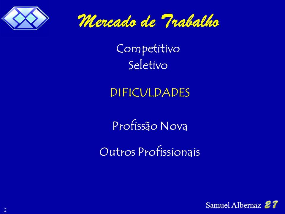Samuel Albernaz 2 Mercado de Trabalho DIFICULDADES Competitivo Seletivo Profissão Nova Outros Profissionais