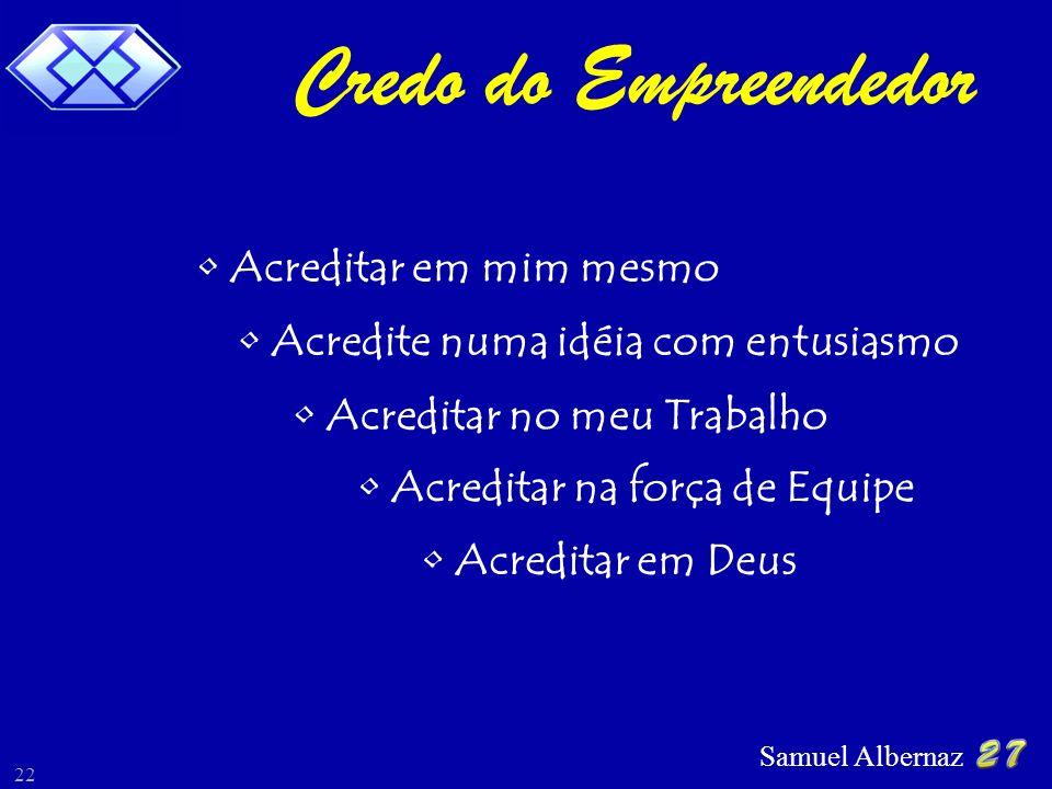 Samuel Albernaz 22 Credo do Empreendedor Acreditar em mim mesmo Acredite numa idéia com entusiasmo Acreditar no meu Trabalho Acreditar na força de Equ