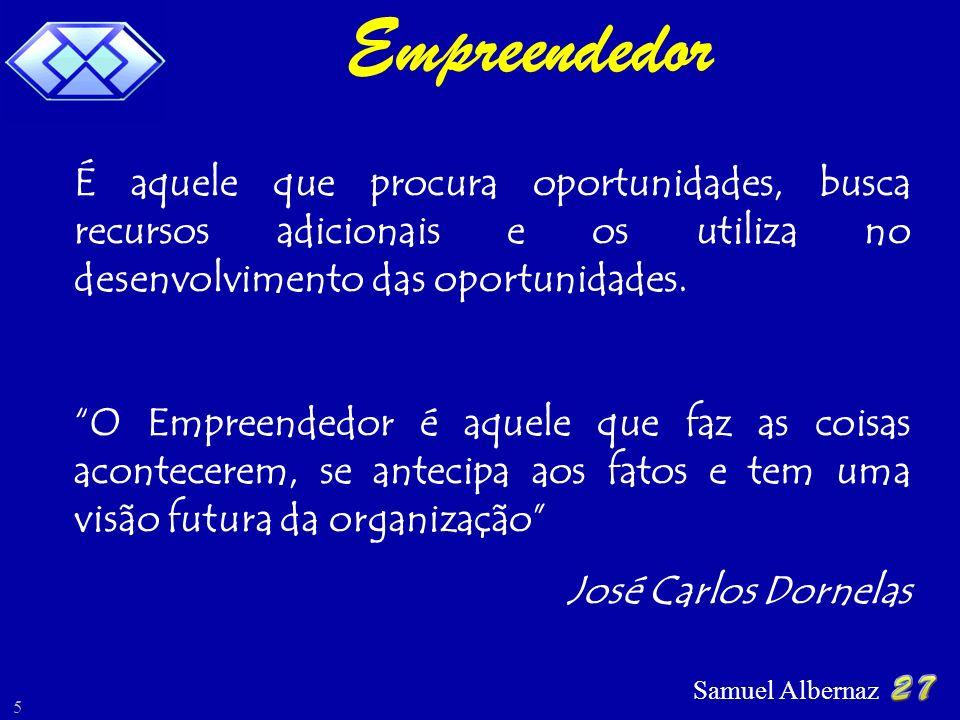 Samuel Albernaz 5 É aquele que procura oportunidades, busca recursos adicionais e os utiliza no desenvolvimento das oportunidades. O Empreendedor é aq