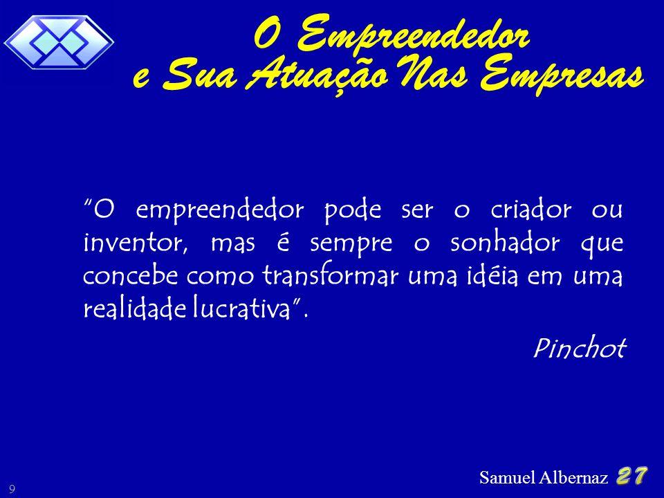 Samuel Albernaz 9 O empreendedor pode ser o criador ou inventor, mas é sempre o sonhador que concebe como transformar uma idéia em uma realidade lucra