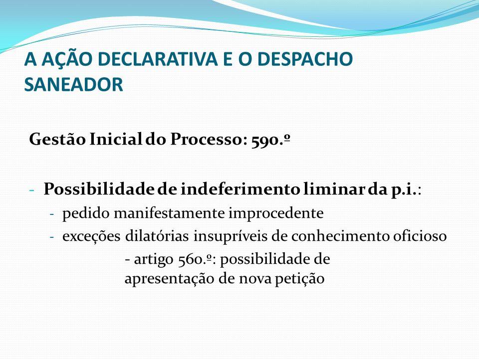 A AÇÃO DECLARATIVA E O DESPACHO SANEADOR - Despacho Pré-saneador - Suprimento de exceções dilatórias (dever de gestão processual: 6.º, nº 2) - Aperfeiçoamento dos articulados - Determinar a junção de documentos com vista a permitir a apreciação de exceções dilatórias ou o conhecimento do mérito no despacho saneador