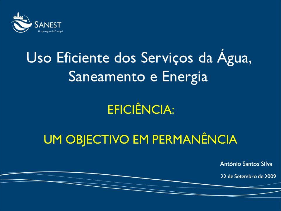 EFICIÊNCIA: UM OBJECTIVO EM PERMANÊNCIA 22 de Setembro de 2009 Uso Eficiente dos Serviços da Água, Saneamento e Energia António Santos Silva