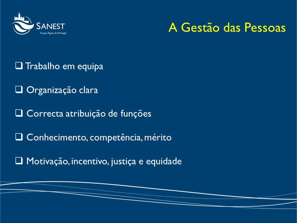 Trabalho em equipa Organização clara Correcta atribuição de funções Conhecimento, competência, mérito Motivação, incentivo, justiça e equidade A Gestã