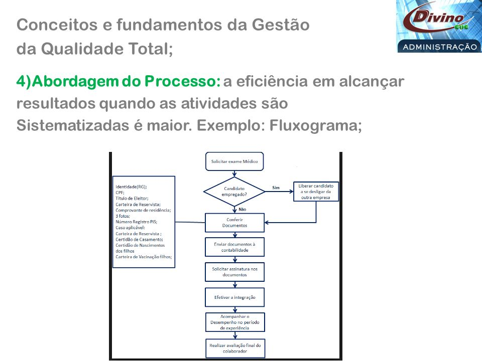 Conceitos e fundamentos da Gestão da Qualidade Total; 4)Abordagem do Processo: a eficiência em alcançar resultados quando as atividades são Sistematizadas é maior.
