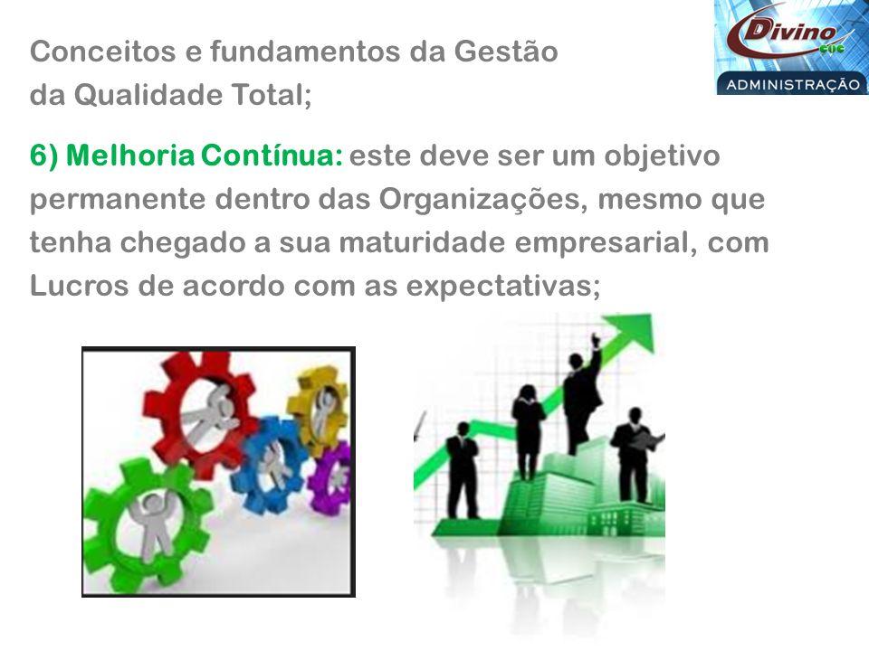 Conceitos e fundamentos da Gestão da Qualidade Total; 6) Melhoria Contínua: este deve ser um objetivo permanente dentro das Organizações, mesmo que tenha chegado a sua maturidade empresarial, com Lucros de acordo com as expectativas;