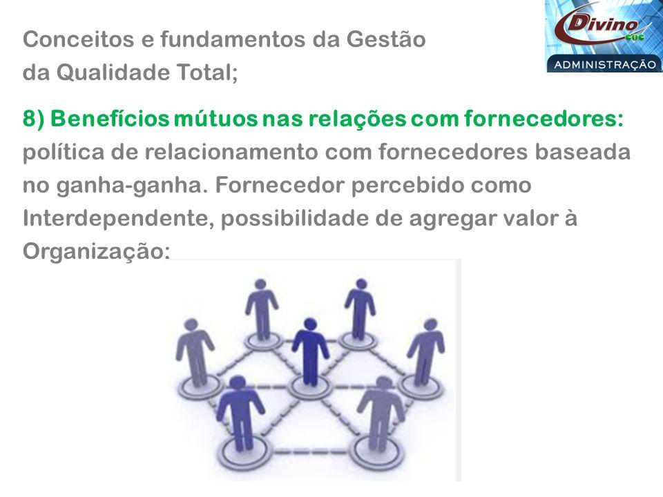 Conceitos e fundamentos da Gestão da Qualidade Total; 8) Benefícios mútuos nas relações com fornecedores: política de relacionamento com fornecedores baseada no ganha-ganha.