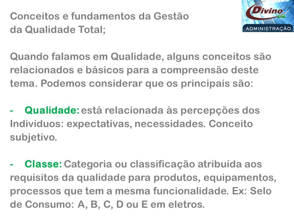 Conceitos e fundamentos da Gestão da Qualidade Total;
