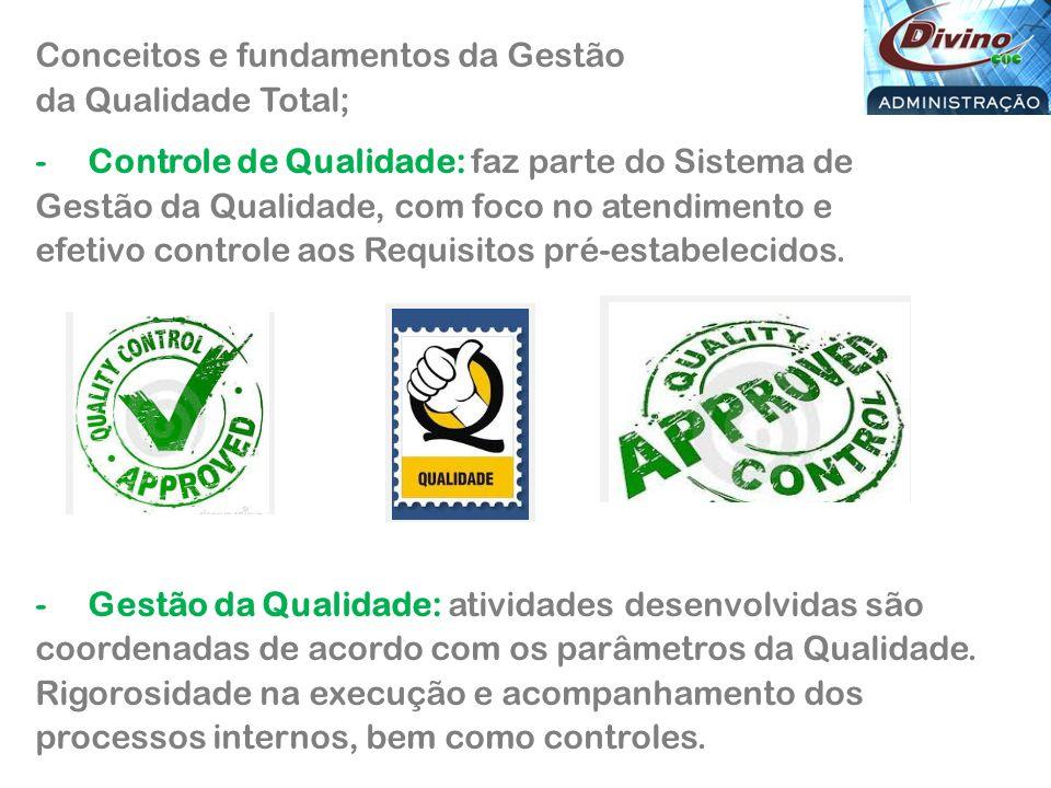 Conceitos e fundamentos da Gestão da Qualidade Total; -Controle de Qualidade: faz parte do Sistema de Gestão da Qualidade, com foco no atendimento e efetivo controle aos Requisitos pré-estabelecidos.