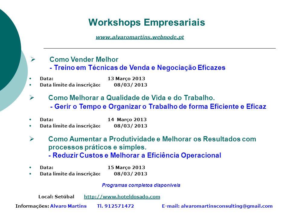 Workshops Empresariais Informações: Alvaro Martins Tl.