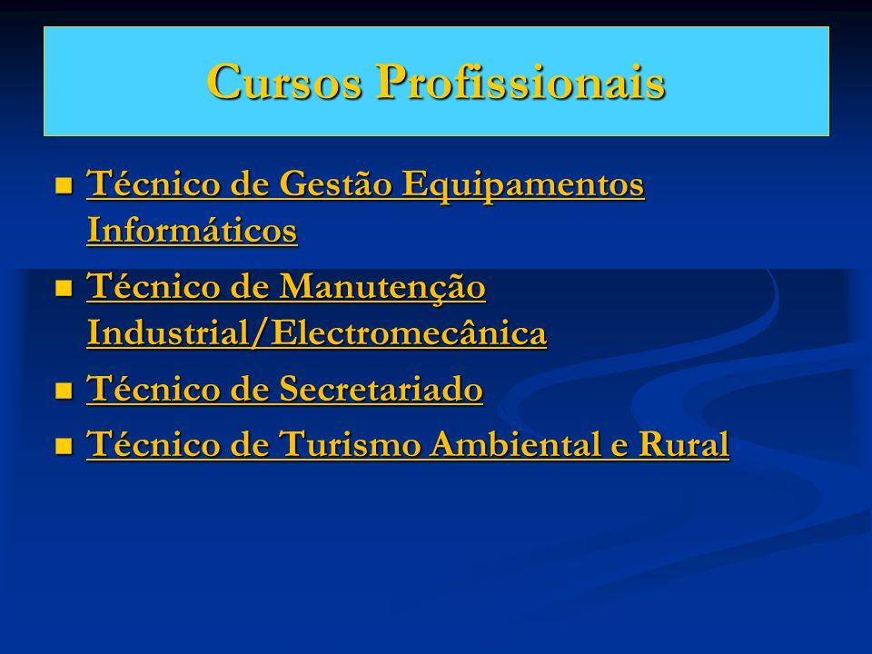 Cursos Profissionais Técnico de Gestão Equipamentos Informáticos Técnico de Gestão Equipamentos Informáticos Técnico de Manutenção Industrial/Electrom