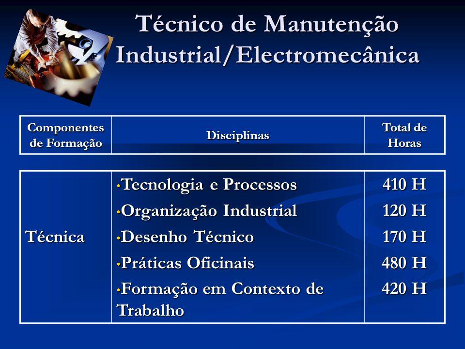 Componentes de Formação Disciplinas Total de Horas Técnico de Manutenção Industrial/Electromecânica Técnica Tecnologia e Processos Tecnologia e Proces