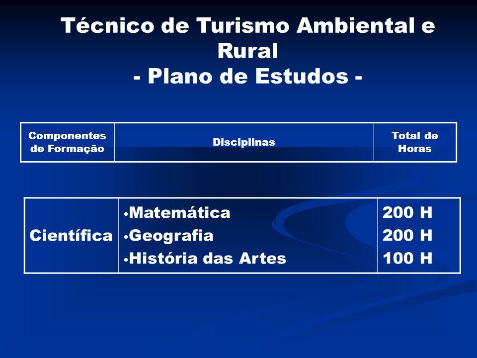 Componentes de Formação Disciplinas Total de Horas Científica Matemática Geografia História das Artes 200 H 100 H Técnico de Turismo Ambiental e Rural