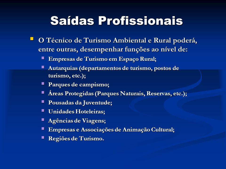 Saídas Profissionais O Técnico de Turismo Ambiental e Rural poderá, entre outras, desempenhar funções ao nível de:O Técnico de Turismo Ambiental e Rur