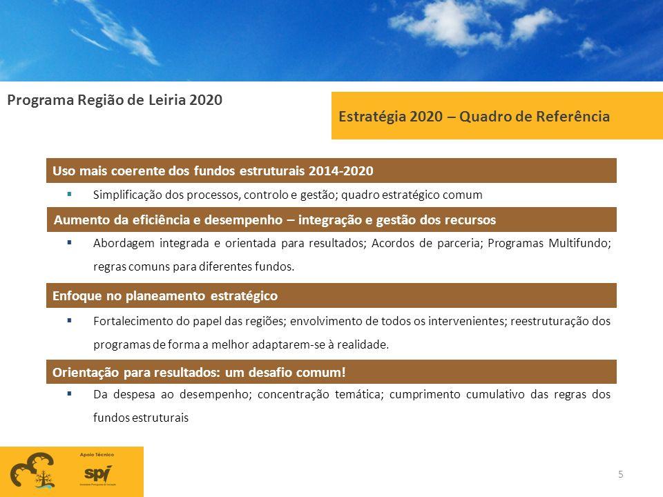 Programa Região de Leiria 2020 5 Estratégia 2020 – Quadro de Referência Uso mais coerente dos fundos estruturais 2014-2020 Simplificação dos processos