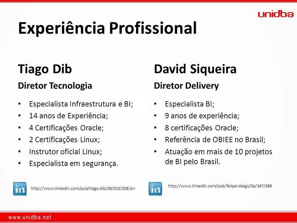 Experiência Profissional Tiago Dib Diretor Tecnologia Especialista Infraestrutura e BI; 14 anos de Experiência; 4 Certificações Oracle; 2 Certificaçõe