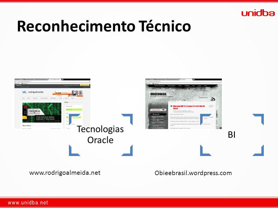 Reconhecimento Técnico Tecnologias Oracle BI www.rodrigoalmeida.net Obieebrasil.wordpress.com