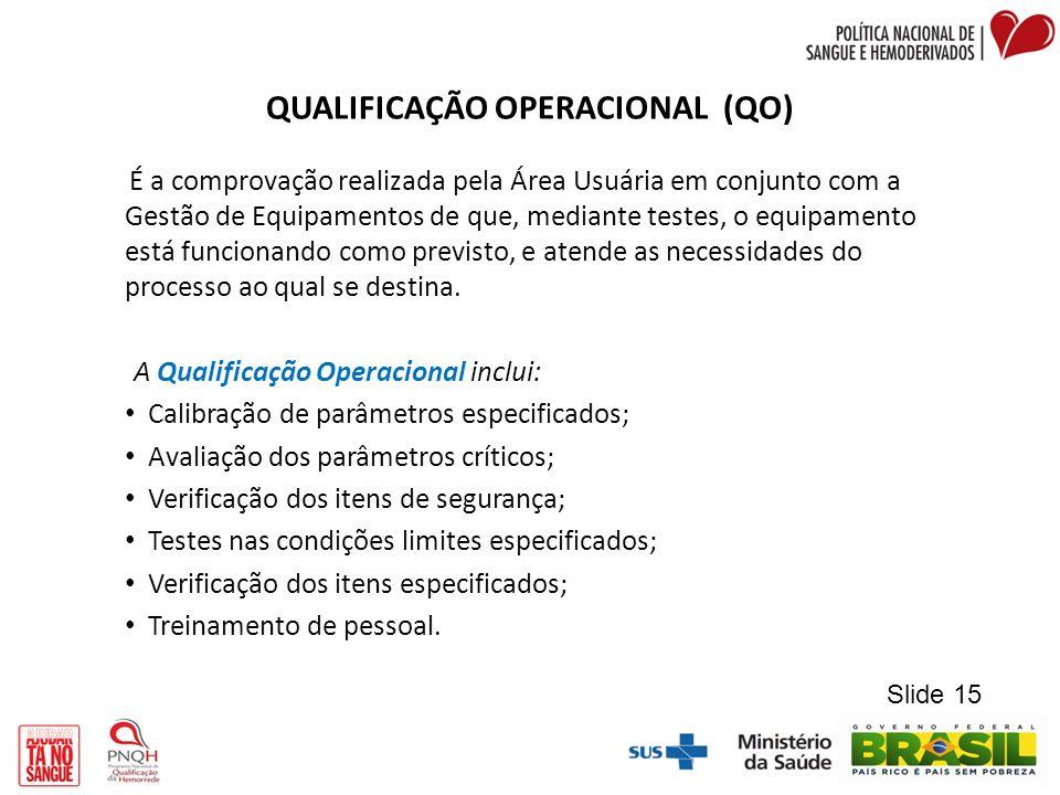 QUALIFICAÇÃO OPERACIONAL (QO) É a comprovação realizada pela Área Usuária em conjunto com a Gestão de Equipamentos de que, mediante testes, o equipame