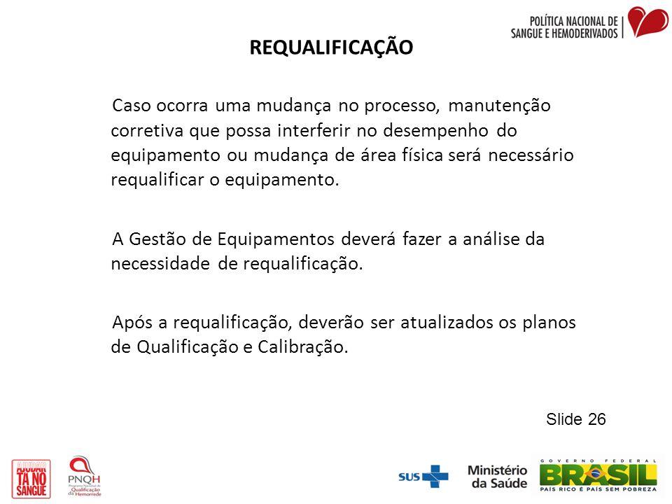 REQUALIFICAÇÃO Caso ocorra uma mudança no processo, manutenção corretiva que possa interferir no desempenho do equipamento ou mudança de área física s